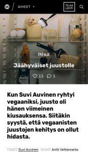 Kuvakappaus Jäähyväiset juustolle -artikkelista